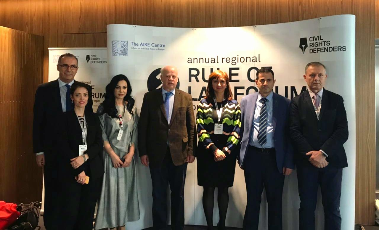 """Kryetari i Gjykatës së Lartë Z. Xhezair Zaganjori mori pjesë në Forumin e Pestë Rajonal për Evropën Juglindore """"Rule of Law"""", organizuar nga qendra AIRE dhe Mbrojtësit e të Drejtave Civile mbajtur në Shkup të Maqedonisë më 16 dhe 17 mars 2018"""